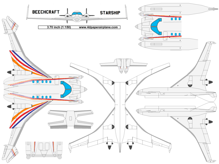 4D model template of Beechcraft Starship