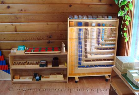 primary Montessori math shelves - Montessori Print Shop