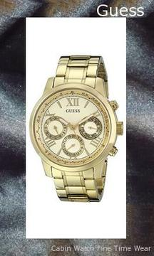 GUESS Women's U0330L1 Sporty Gold-Tone Stainless Steel Watch with Multi-function Dial and Pilot Buckle,guess outlet
