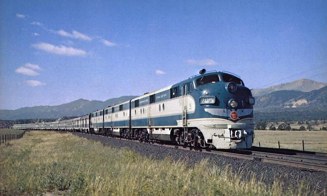 "A postcard photo of the Missouri Pacific's beautiful ""Colorado Eagle"" streamliner. (CC Historic Collection)"