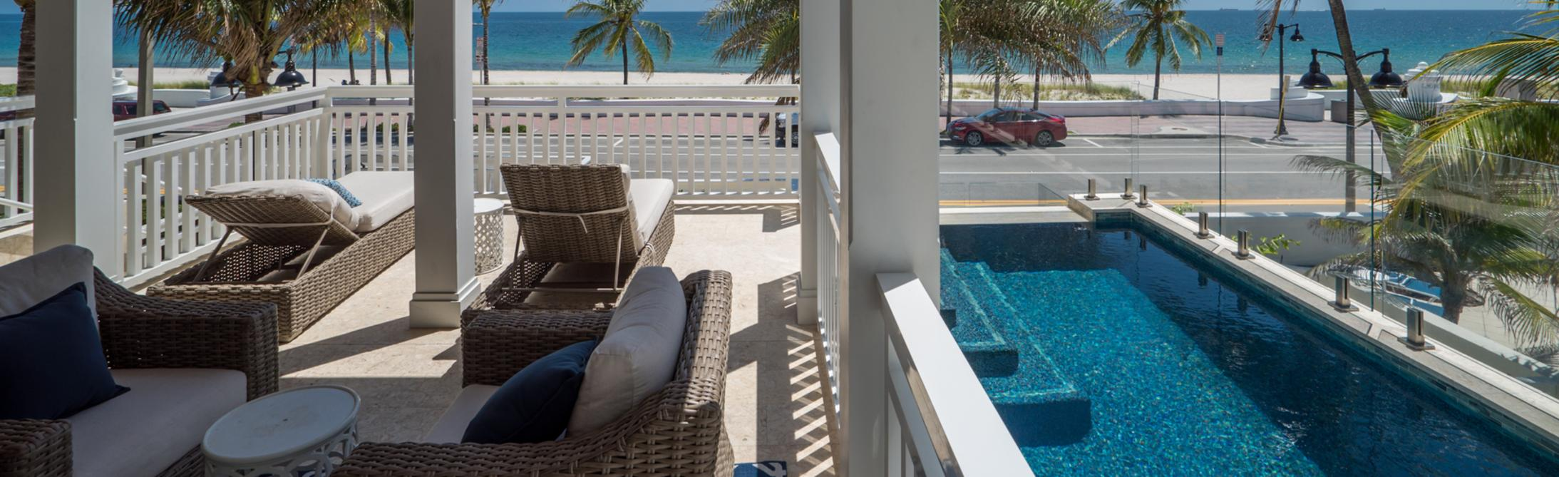 Balcony of a Custom Built Home Overlooking Fort Lauderdale Beach