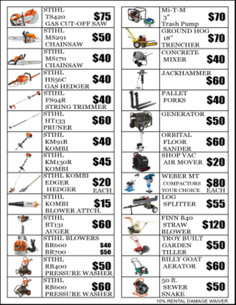 Equipment and Tool Rental