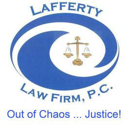 Logo for Lafferty Law Firm, P.C. blue swirls with scales of justice in center and tag line out of chaos...justice