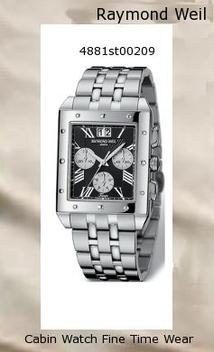 Watch Information Brand, Seller, or Collection Name Raymond Weil Model number 4881-ST-00209 Part Number 4881-ST-00209 Item Shape rectangle Dial window material type Anti reflective sapphire Display Type Analog Clasp deployment-clasp-with-double-push-button Case material Stainless steel Case diameter 34 millimeters Case Thickness 10 millimeters Band Material Stainless steel Band length Men's Standard Band width 23 millimeters Band Color Silver Dial color Black Bezel material Stainless steel Bezel function Stationary Calendar Date Special features Chronograph Item weight 4.54 Grams Movement Swiss quartz Water resistant depth 165 Feet