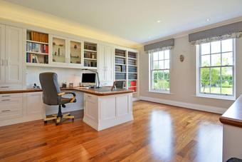 Solid hardwood flooring-white oak hardwood flooring-hardwood flooring installation in home office-satin polyurethane finish