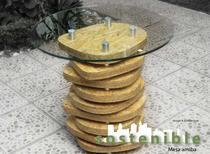 Mesa de diseño organicho hecha de OSB, medidas desde 80 hasta 120 cms de diametro