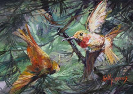 Dancing in Pinon miniature pastel painting of hummingbirds by Lindy C Severns