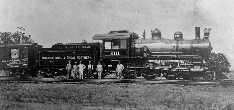 I&GN Locomotive 201 at the Palestine Depot, circa 1930.