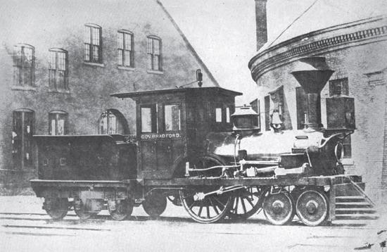 The Governor Bradford 4-2-0 locomotive. Built in 1845 for the Old Colony Railroad, by Hinkley and Drury.