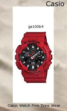 Watch Information Brand, Seller, or Collection Name Casio Model number GA100B-4ACR Part Number GA100B-4ACR Model Year 2012 Item Shape Round Dial window material type Plastic Display Type Analog and digital Clasp Buckle Metal stamp None Case material Resin Case diameter 37 millimeters Case Thickness 14 millimeters Band Material Resin Band length Unisex Band width 0.87 inches Band Color Red Dial color Matte red large resin case Bezel material Resin Bezel function 24 hour time display Calendar Day, date, and month Special features Stop watch, Shock resistant, Timer, World Time Item weight 2.08 Ounces Movement Japanese quartz Water resistant depth 200