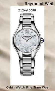 atch Information Brand, Seller, or Collection Name Raymond Weil Model number 5124-ST-00985 Part Number 5124-ST-00985 Item Shape Round Dial window material type Anti reflective sapphire Display Type Analog Clasp Fold-Over Push-Button Clasp with Safety Case material Stainless steel Case diameter 24 millimeters Case Thickness 7 millimeters Band Material Stainless steel Band length Women's Standard Band width 17.8 millimeters Band Color Silver Dial color Mother of pearl Bezel material Stainless steel Bezel function Stationary Calendar None Movement Swiss quartz Water resistant depth 165 Feet