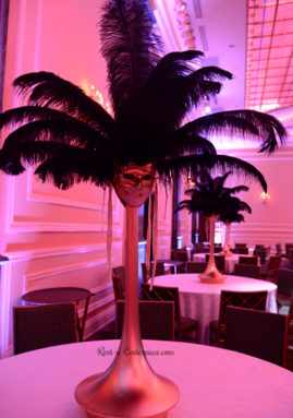 Rent Masquerade Spandex ostrich feather centerpieces Los Angeles California