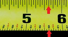 Measuring tape with arrow pointing to five and five eighths