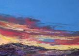 Sky Spun Color, original skyscape by Texas pastelist Lindy C Severns. Sunset on a Davis Mountain ranch in Far West Texas