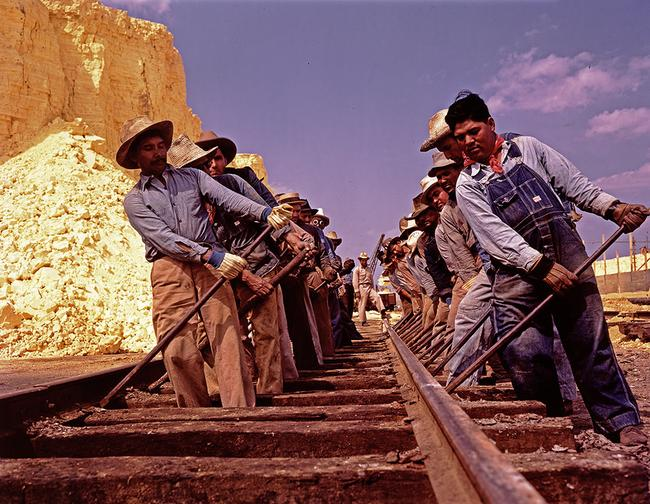 Workers adjusting railroad tracks in Louisiana, ca. 1939. Photo by Robert Yarnell Ritchie.
