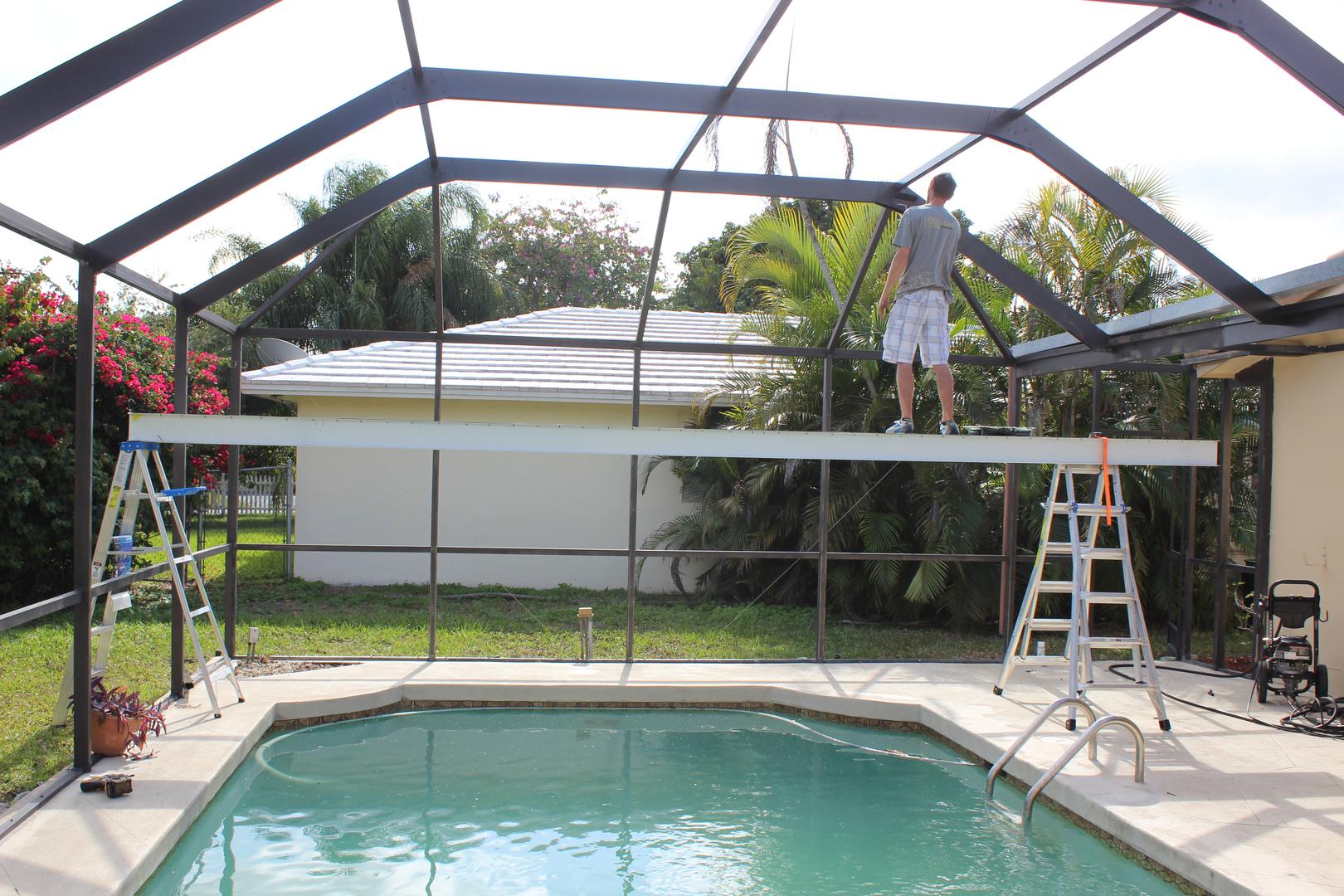 Rescreening a porch rescreening repair pool cages tampa for Pool enclosure design software