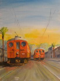 Pacific Electric interurban trolley blimps painting