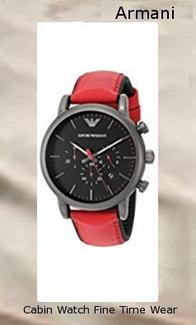 Emporio Armani Men's AR1971 Dress Red Leather Watch Dress Red Leather Watch