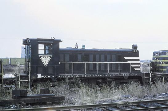 Washington and Old Dominion Railroad No. 55, a Whitcomb 75-tonner, at the B&O Riverside Yard in Baltimore in January 1969. Photo by Roger Puta.