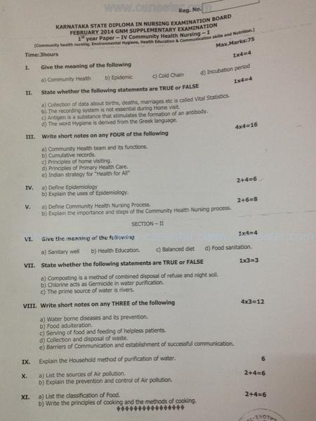 GNM Nursing, first year KSDNEB 2015 QUESTIONS