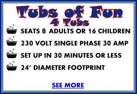 tubs of fun amusement park ride for rent 4 tubs details, seats 8 adults or 16 children, 230 volt single phase 30 amp, set up in 30 minutes or less, 24' diameter footprint, see more