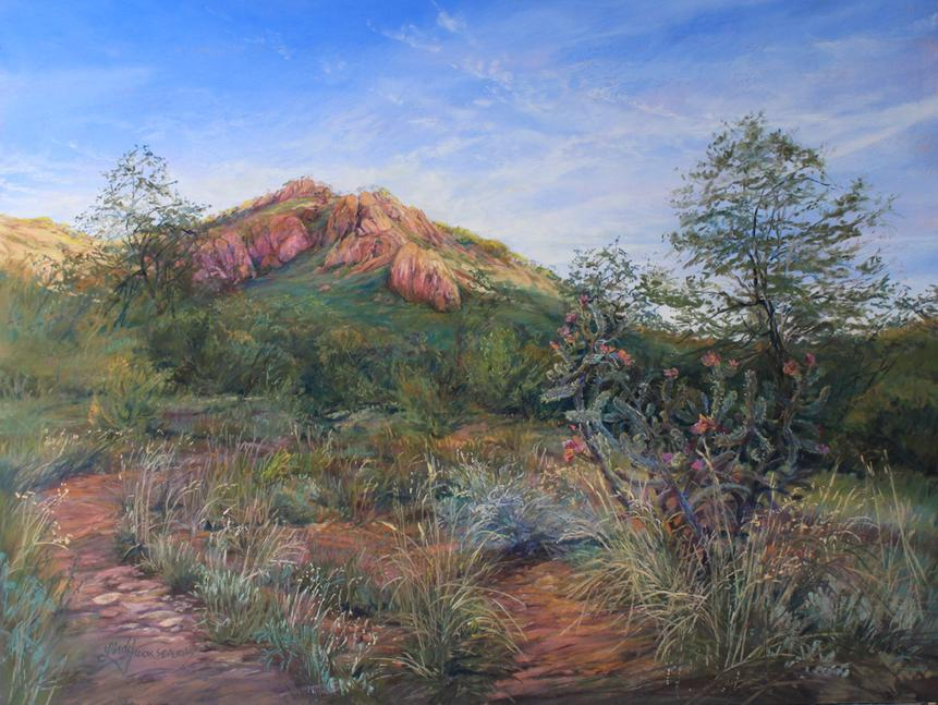 High Desert Summer Splendor, Texas mountain ranchland in this pastel landscape painting by Lindy Cook Severns, Old Spanish Trail Studio, Fort Davis, TX