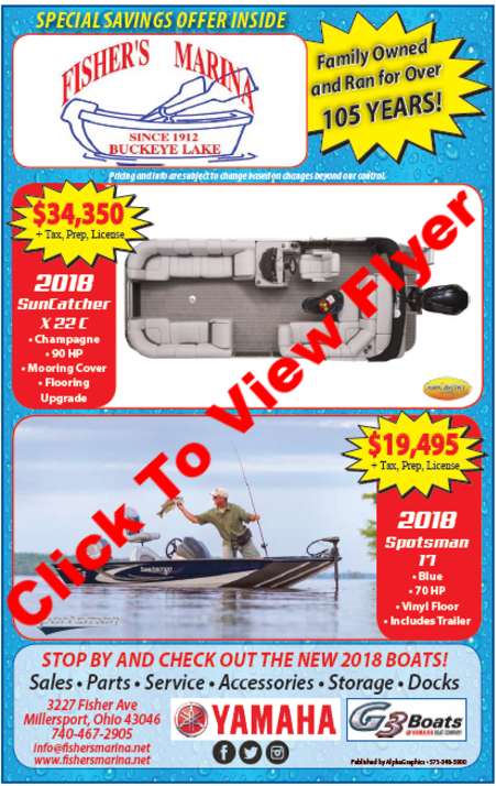 Boat Show 2018 Flyer Fisher's Marina Specials saving inside, Click to view flyer, Buckeye Lake full service marina pontoon & fishing boat sales