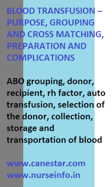 blood transfusion, purpose, grouping, cross matching, preparation and complications