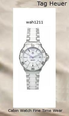 Watch Information Brand, Seller, or Collection Name TAG Heuer Model number WAH1211.BA0861 Part Number WAH1211.BA0861 Model Year 2011 Item Shape Round Dial window material type Anti reflective sapphire Display Type Analog Clasp Deployment clasp with push-button Case material Stainless steel Case diameter 34.5 Case Thickness 10 millimeters Band Material Stainless steel- ceramic Band length Women's Standard Band width 17 millimeters Band Color Silver Dial color White Bezel material Ceramic Bezel function Stationary Calendar Date Special features Water Resistant Item weight 16 Ounces Movement Quartz Water resistant depth 660 Feet,tag watches,tag heuer