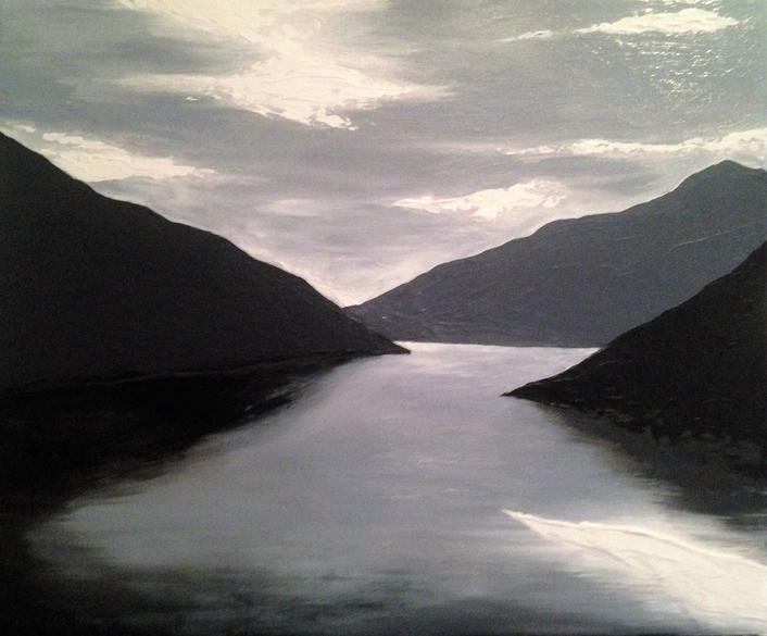Fjord. 50x60cm.Original acrylic painting, private collection Hamburg, Germany by Irish artist Orfhlaith Egan. Berlin Gallery & Studio.