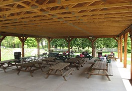 picnic tables under pavilion