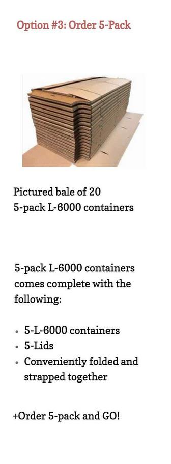 bale of 20 5-pack L-6000 containers