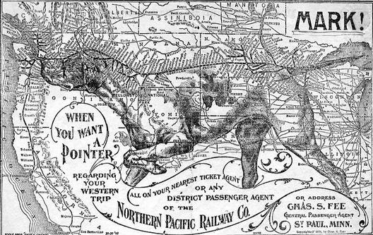 A Northern Pacific advertising map.