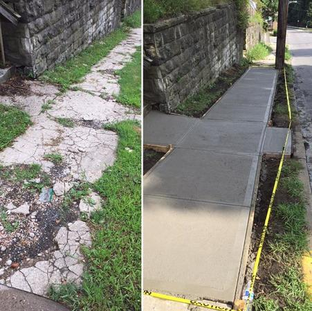 Concrete sidewalk repair