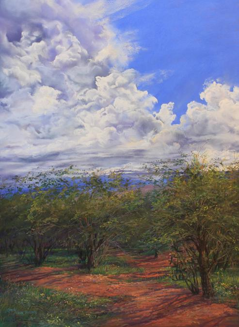 Summertime, original plein air pastel landscape of the Davis Mountains in West Texas by Lindy C Severns