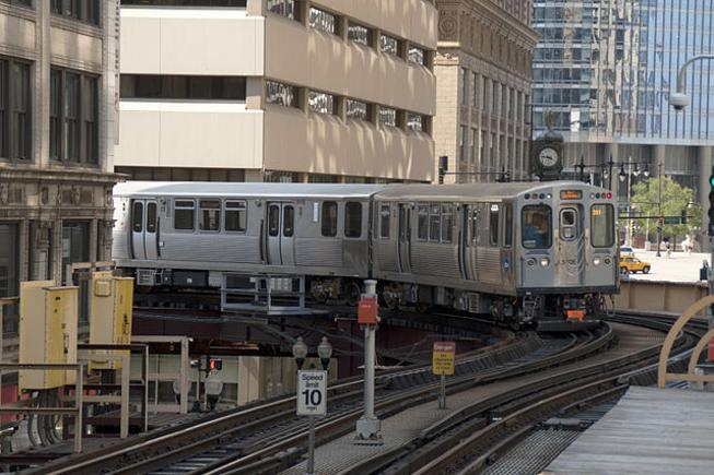 A Chicago L train in the northeast corner of the Loop.