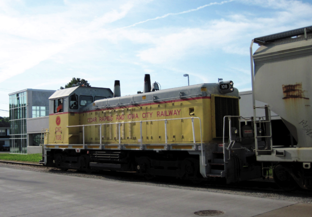 CIC No. 108 is an EMD SW14, a rebuild of an EMD SW9, at Iowa City, Iowa.