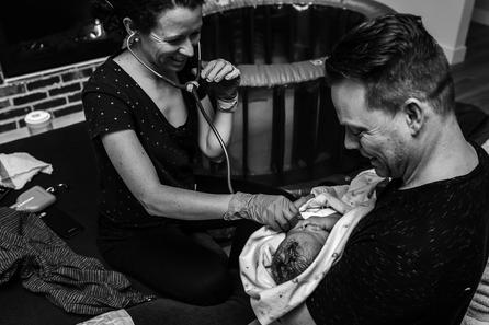Birth photographer Jennifer Strilchuk captures newborn exam at Abbotsford Hospital