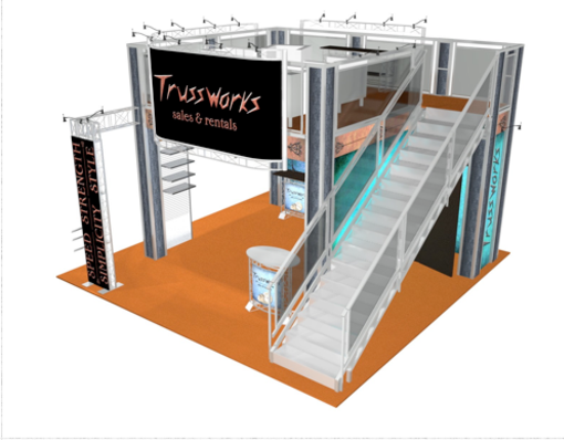 Trussworks double deck booth 20 x 20 front view.