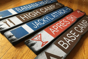rustic wood signs - five custom ski trail signs