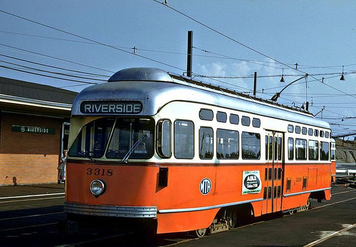 A PCC streetcar at Boston's Riverside station in the early 1960s.