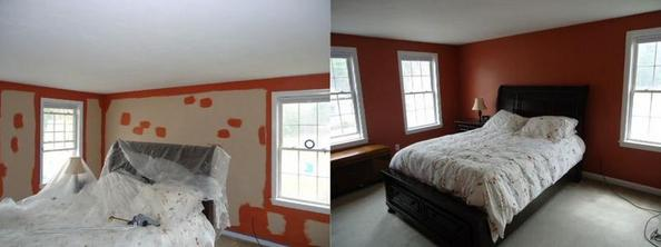 before and after painted master bedroom.