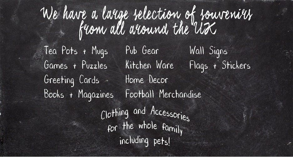 Tea Pots, Mugs, Games, Puzzles, Greeting Cards, Books, Magazines, Pub Gear, Kitchen Ware, Home Decor, Football Merchandise