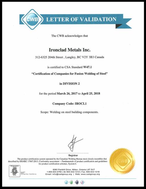 Ironclad Metals Certificates