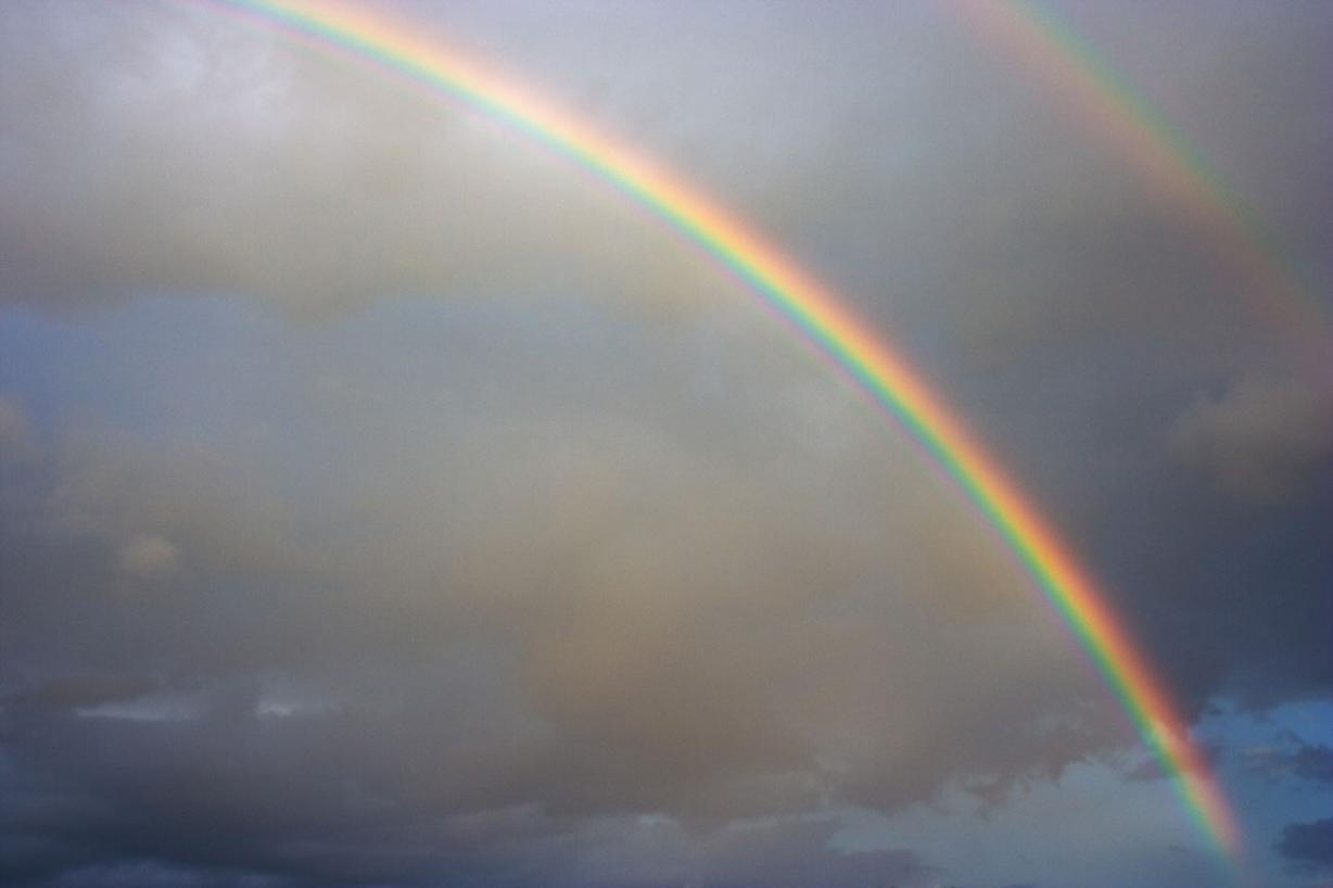 double rainbow and clouds