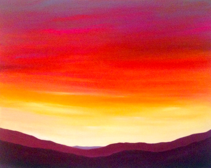 Dooras Sky. 40x50cm. Original contemporary pink, orange, red and purple re-imagined landscape painting inspired by the Cornamona sky in the west of Ireland by Cornamona artist Orfhlaith Egan. Currently on view at Freyer Marktforschung, Berlin-Charlottenburg.