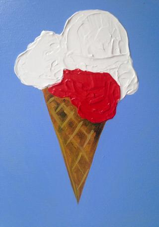 Privacy Policy Image. Ice-cream cone. 2017. Acrylic on canvas by Irish Artist Orfhlaith Egan.