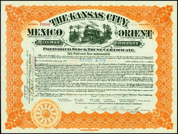 Preferred Stock Trust Certificate of the Kansas City, Mexico and Orient Railway Company.