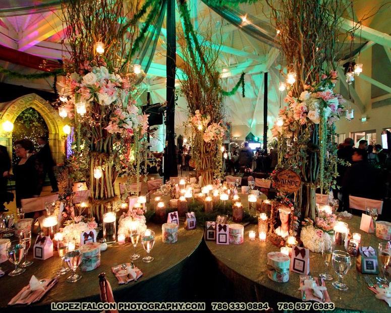 Enchanted forest quince party decoration stage centerpieces flowers miami photography video quinceanera