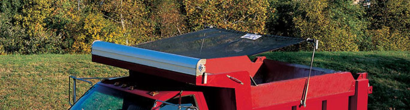 Aero Easy Pull, pull style tarp system installed on a single axle dump truck.